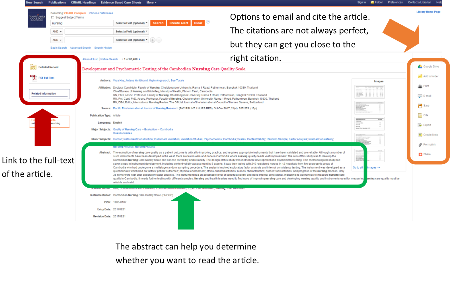Article record in CINAHL including a link to full-text, citation help, and an option to email the article