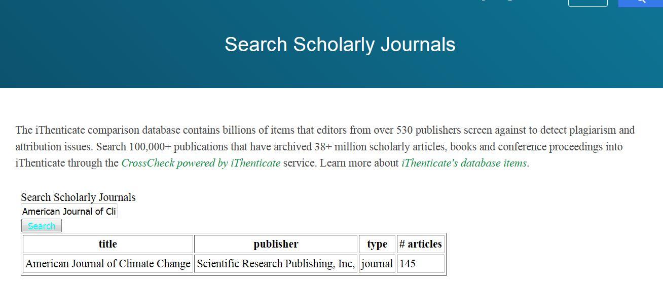 Screenshot of ithenticate journal database