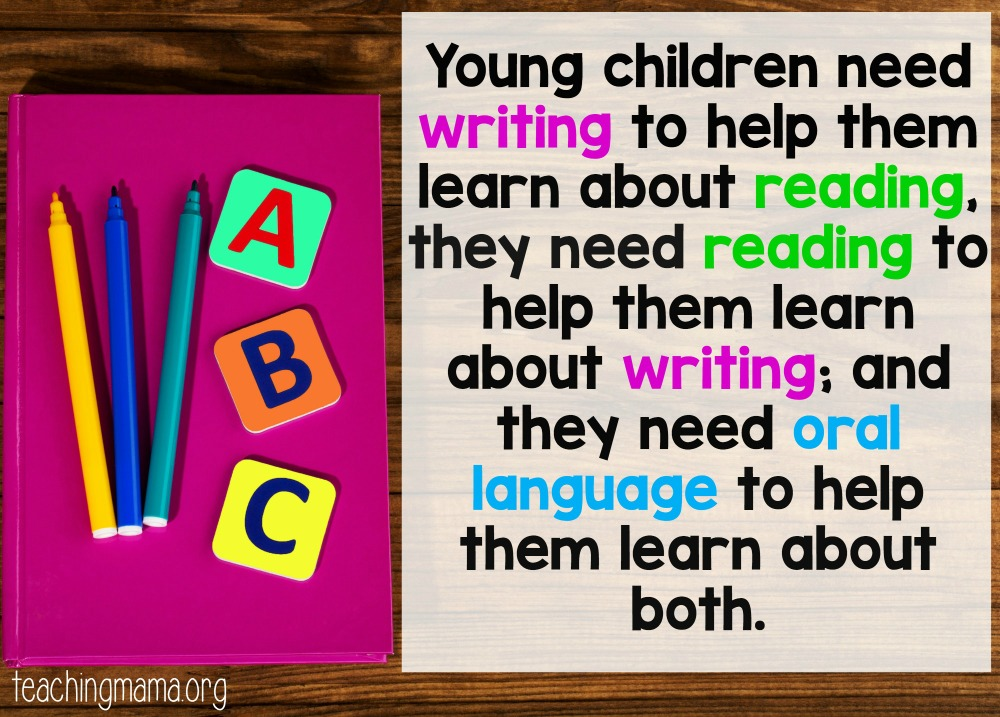 Quote - young children need writing to help them learn about reading, they need reading to help them learn about writing and they need oral language to help them learn about both