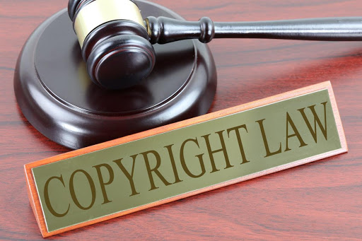 Picture with gavel and the words Copyright law