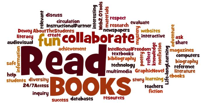 library wordle - key words read, collaborate, interactive...