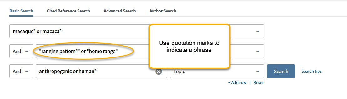 Web of Science search with quotation marks highlighted