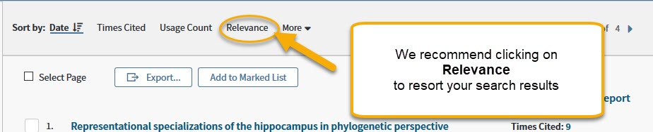 Web of Science Search Results with Relevance sort option highlighted