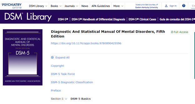 Image of landing page for DSM-5