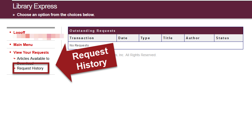 ILLiad screen with request history link highlighted