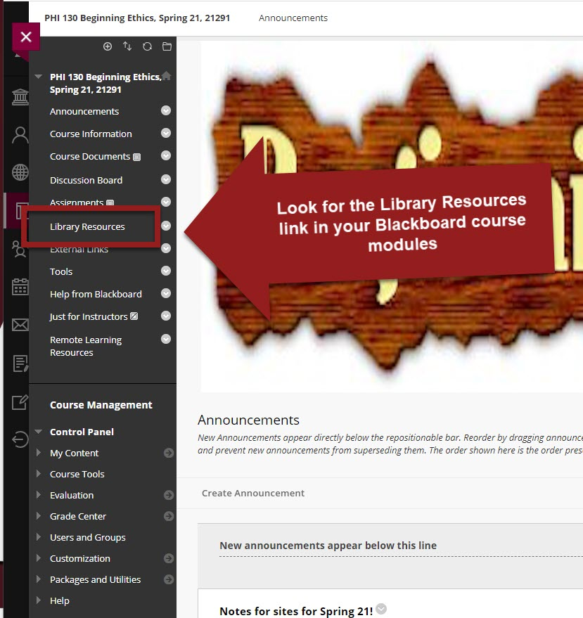 Blackboard course with with left side menu with Library Resources link highlighted