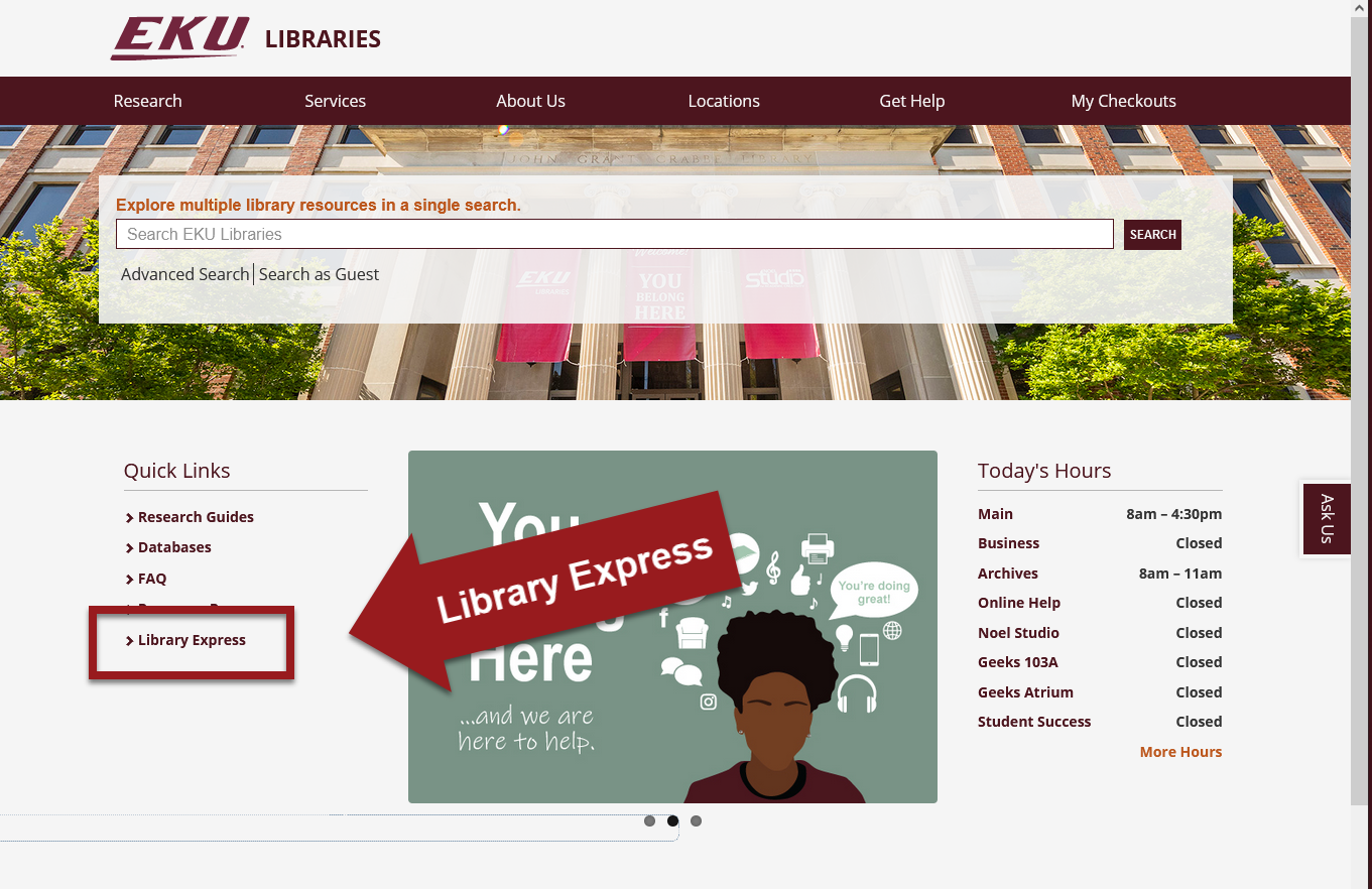 Library Homepage with Library Express link highlighted
