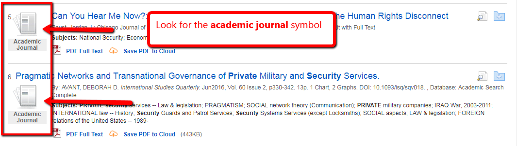 EDS search results screen highlighting the academic journal symbol in front of two article citaitons
