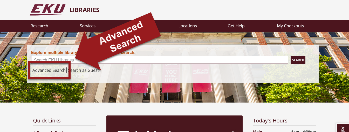 Library Home page with EDS advanced search link highlighted