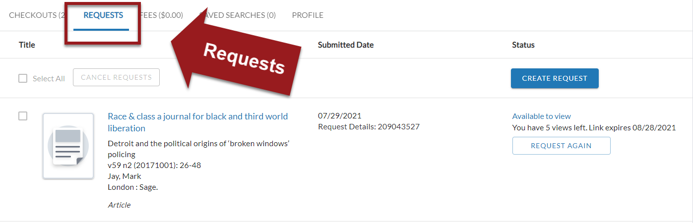 MyCheckouts portal with Request tab highlighted