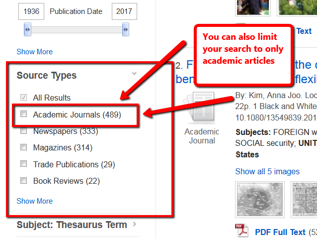 Image of the Source Types option to limit to only academic journals in the search results of Academic Search Complete.