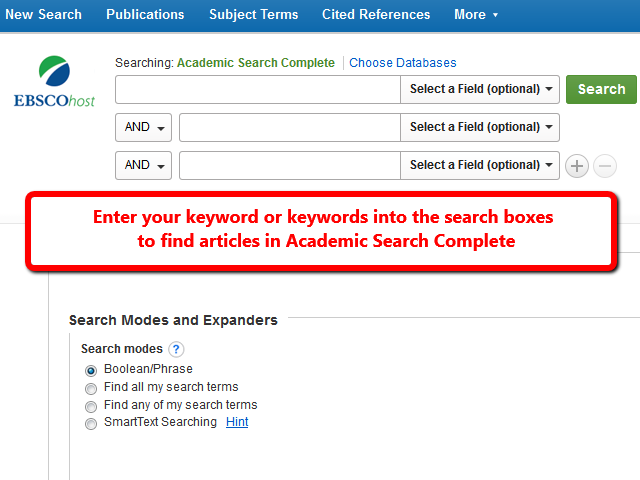 Image of the Academic Search Complete home page which shows three boxes for entering keywords