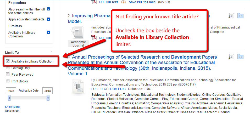 "Search results screen highlighting ""Available in Library Collection"" limiter on the left"
