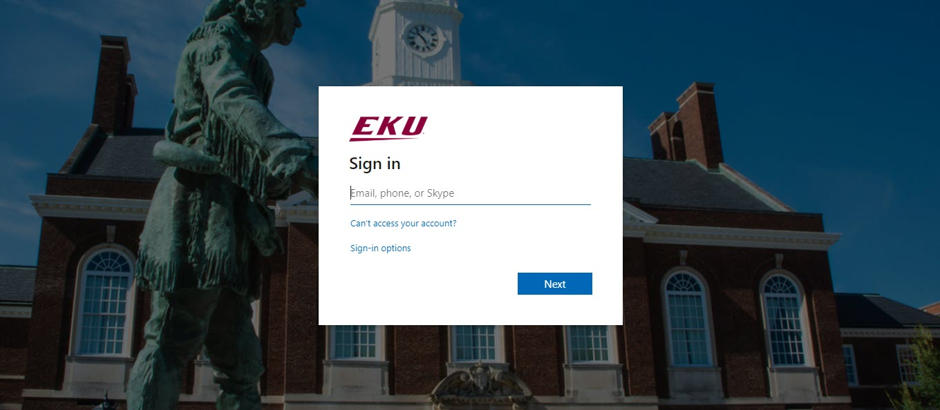EKU Azure Single-Sign on Login in with picture of Daniel Boone statue in backbround