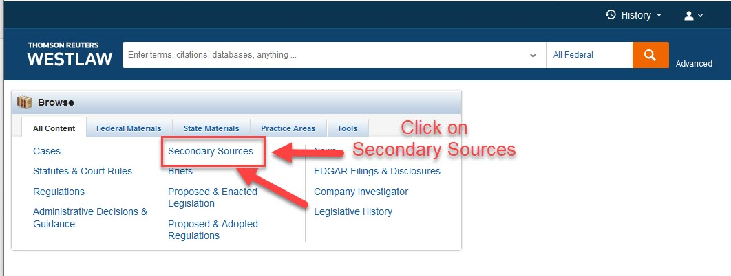 Westlaw Next home page with Secondary Sources in the middle highlighted