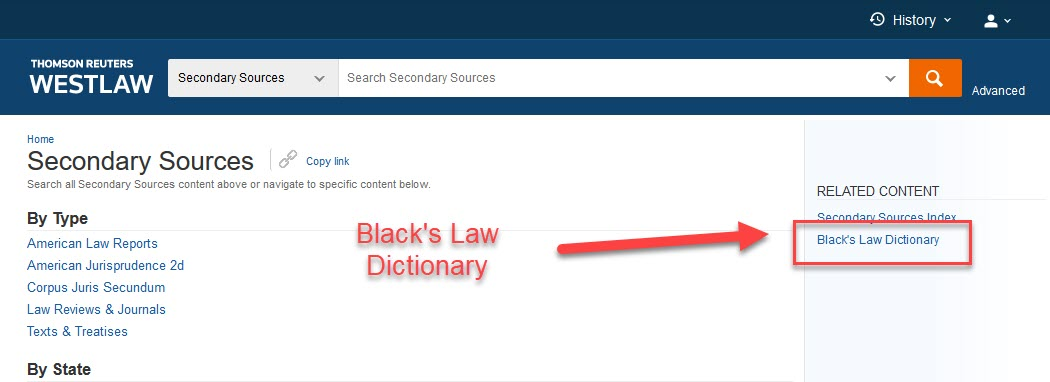 Secondary sources in Weslaw Next with link to Black's Law Dictionary highlighted