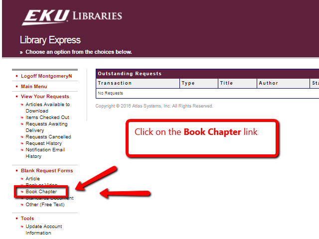 Library Express account home screen with arrow pointing to Book Chapter link on the left side of the screen in a menu of options