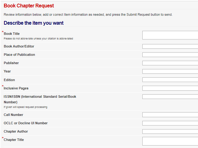 Library Express form for requesting book chapters
