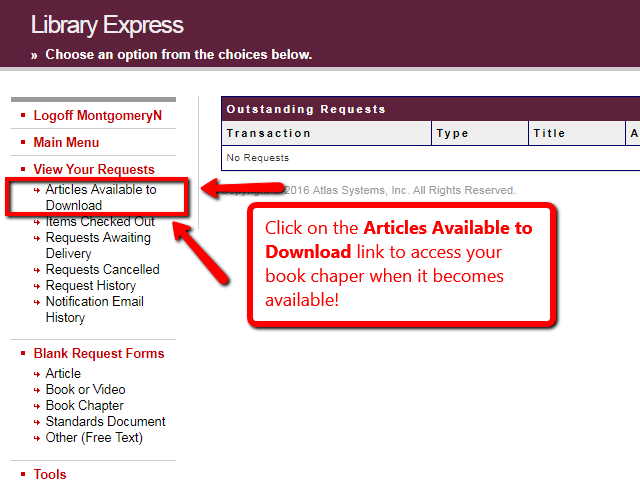 Library Express account screen highlighting the Articles Available to Download link in the left-side menu