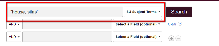 """Library EDS search with """"house, silas"""" entered into search box with """"Subject"""" chosen for the Select a Field menu"""