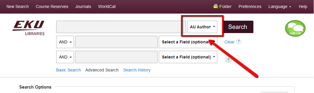 "EDS Library Search with ""Author"" selected in the ""Select a Field"" pull down menu"