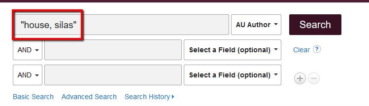 "Library search with author name entered ""house, silas"" and Select a Field set to ""Author"""