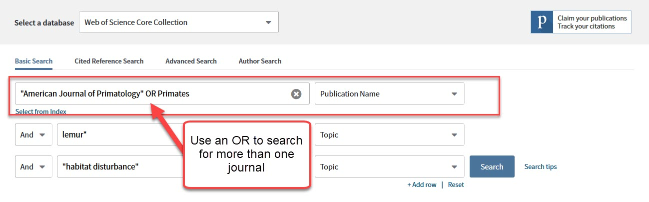 Web of Science search srcreen searching for journals