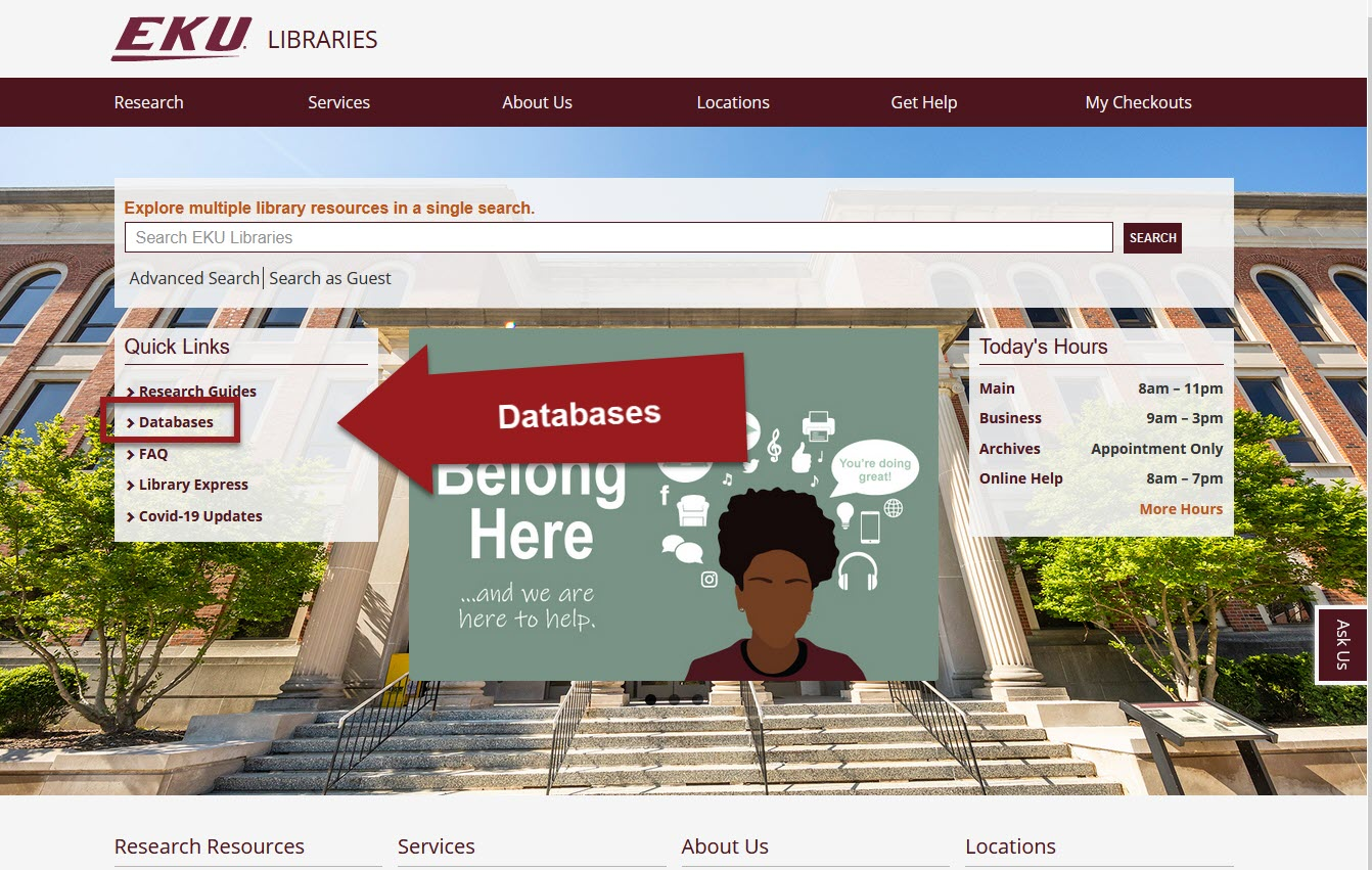 Library homepage with Databases link in the center left highlighted