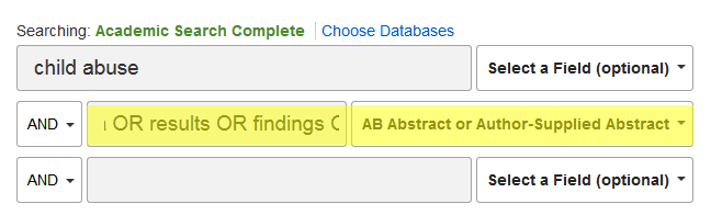 Academic Search Complete showing settings for a search for empirical articles