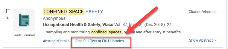 ProQuest article with Find Full Text at EKU Libraries link