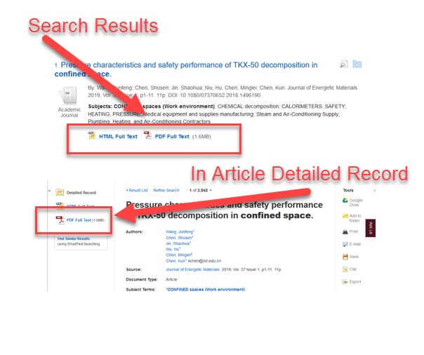 EBSCOhost search results view and an article detailed record view