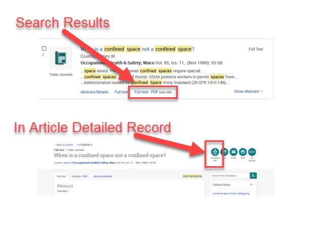 ProQuest Search Results and an Article Detailed Record