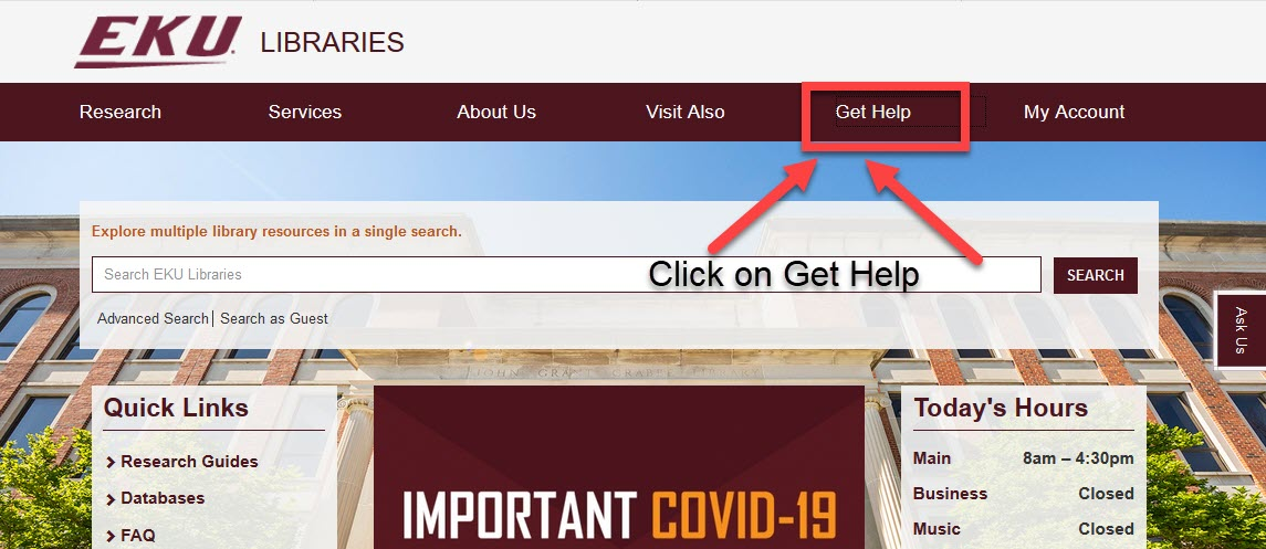 Library homepage with arrow pointing toward Get Help link at top of page