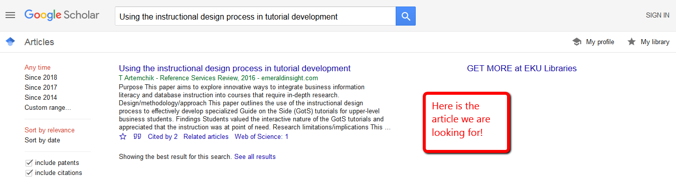 """Google Scholar results list with only the article """"using the instructional design process in tutorial development"""" showing"""