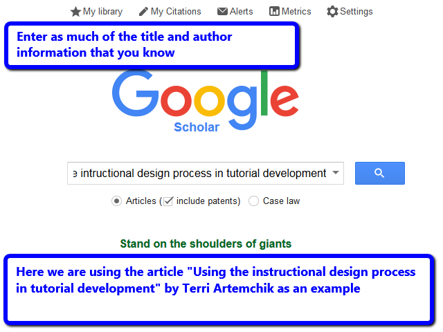 The Google Scholar search screen with article information entered
