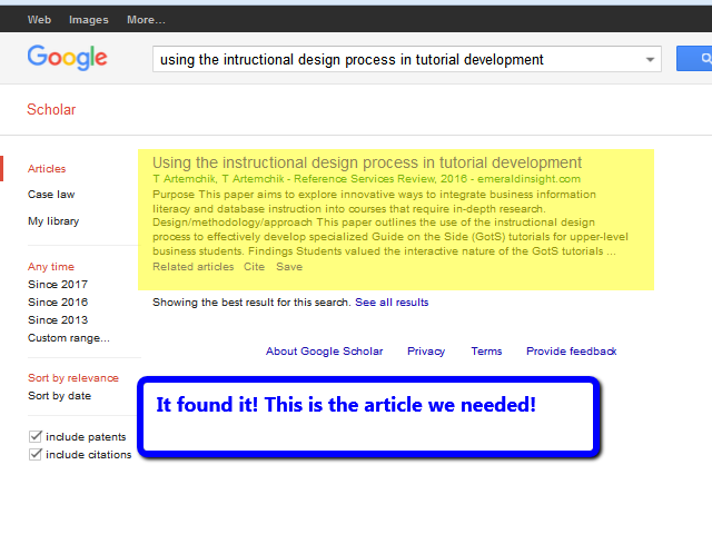 Google Scholar results list with only one article listed