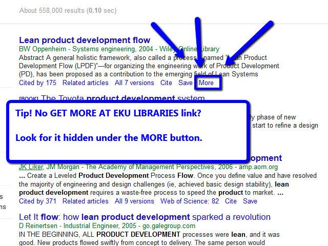 Article in Google Scholar with MORE link highlighted