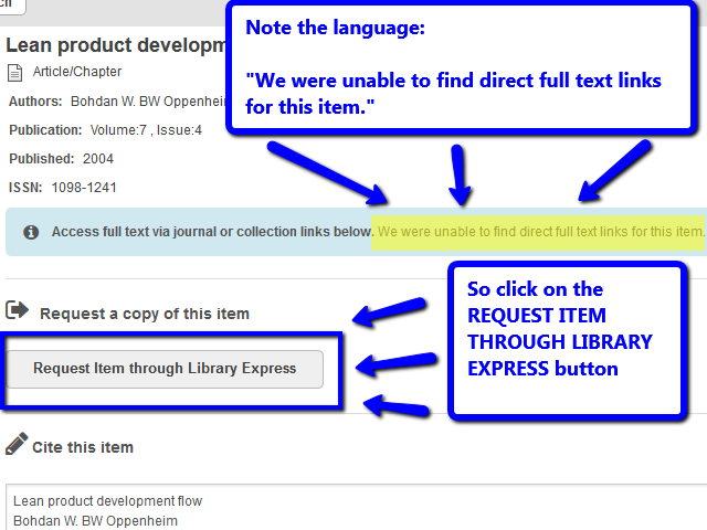 if no link to full text, image shows the use of the request item through library express button