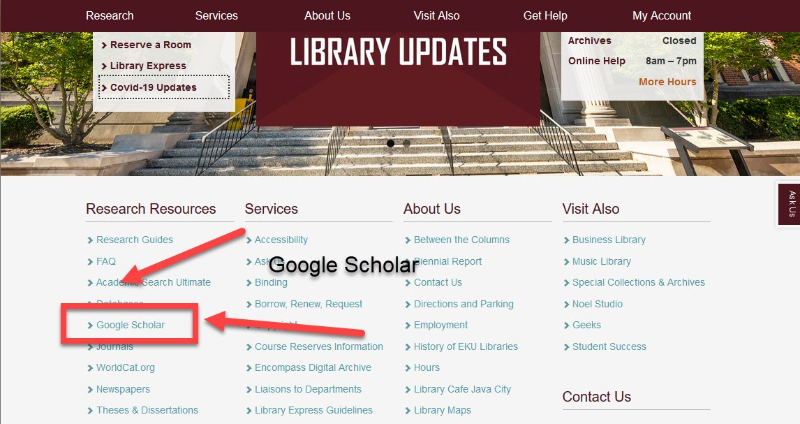 Library homepage with arrow pointing toward Google Scholar link at bottom of the page