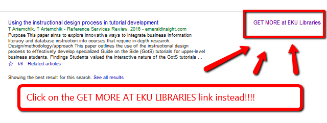 Image highlighting the Get more at EKU Libraries link on far right side of google Scholar search results