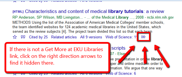 Highlighting the arrows to access the Get more at EKU Libraries link in Google Scholar