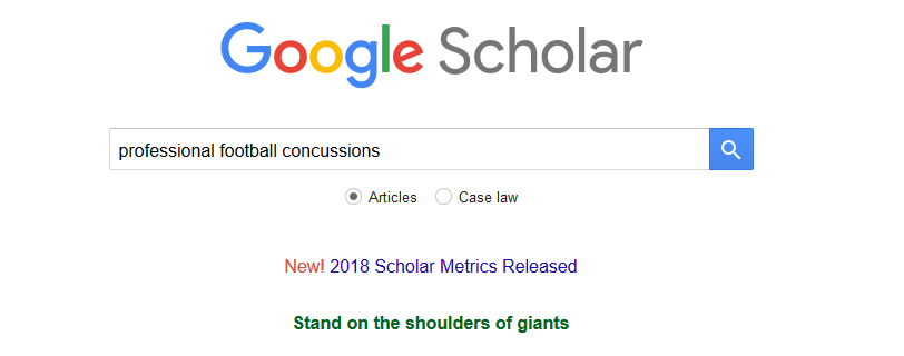 Google Scholar search screen