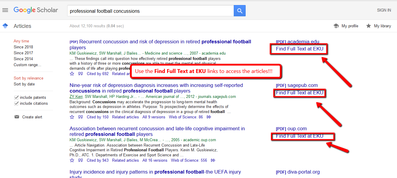 "Google Scholar search results wtih the ""Find Full Text at EKU"" link highlighted"