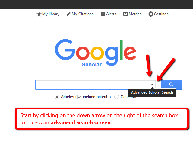 Image highlight a down arrow in the Google Search box to access an Advanced Google Search