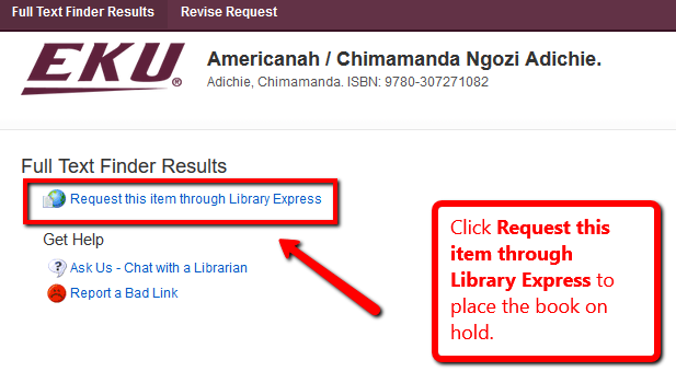 """A record screen with an arrow pointing toward a button with text that reads """"Request this Item through Library Express"""""""