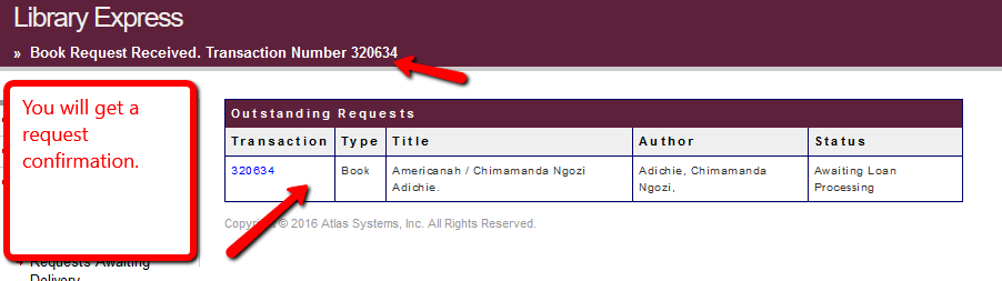 Library Express book request confirmation screen