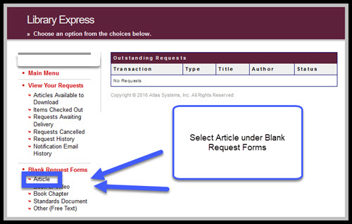 """Library Express home page with """"Article"""" highlighted under Blank Request Forms"""