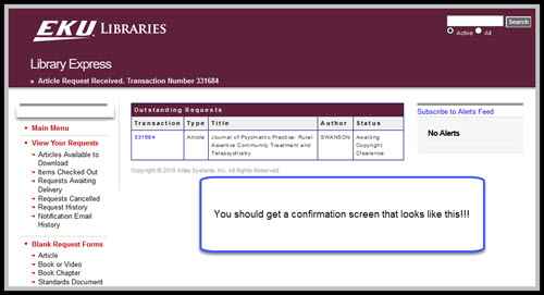Library Express account submission confirmation screen
