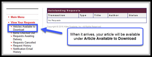 """Library Express account with link to """"Articles Available to Download"""" highlighted"""