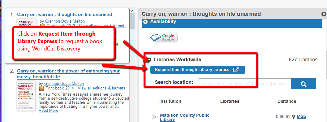 WorldCat Discovery search results with Library Express button highlighted